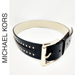 MICHAEL KORS Small Classic Brown Gold Studded Belt